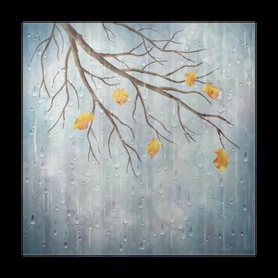 poster-vector-herbst-regen-kunstlerischen-wetter-naturlichen-design