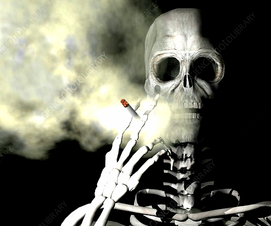 Illustration of a skeleton smoking a cigarette.